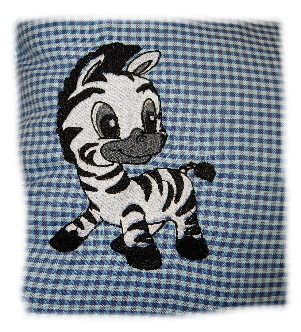 blaues kuschelkissen zebra mit namen bestickt in. Black Bedroom Furniture Sets. Home Design Ideas